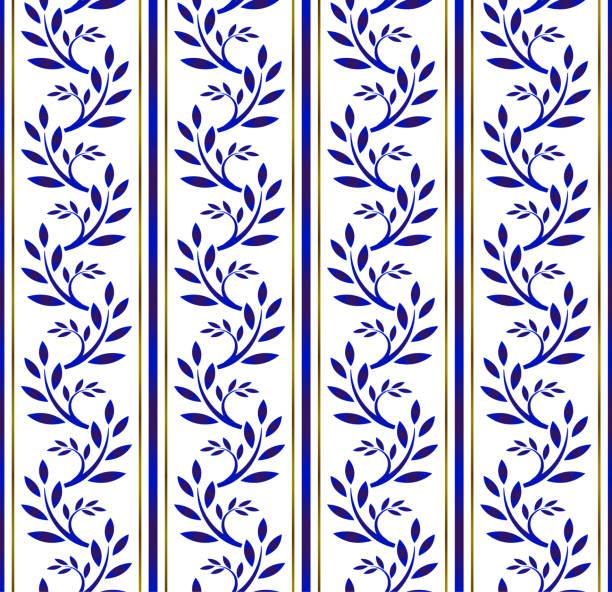 blau-weiß nahtloses muster mit floralen - südeuropa stock-grafiken, -clipart, -cartoons und -symbole