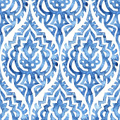 istock Blue and white seamless watercolor pattern. 1216596702