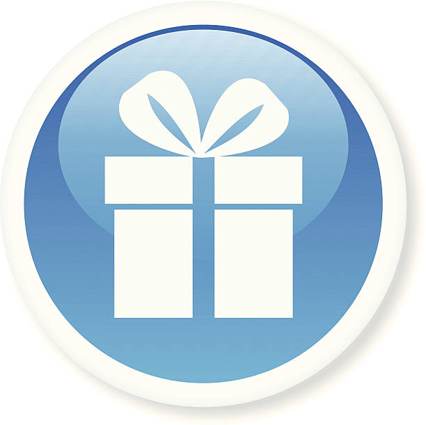 Blue and white shiny gift icon