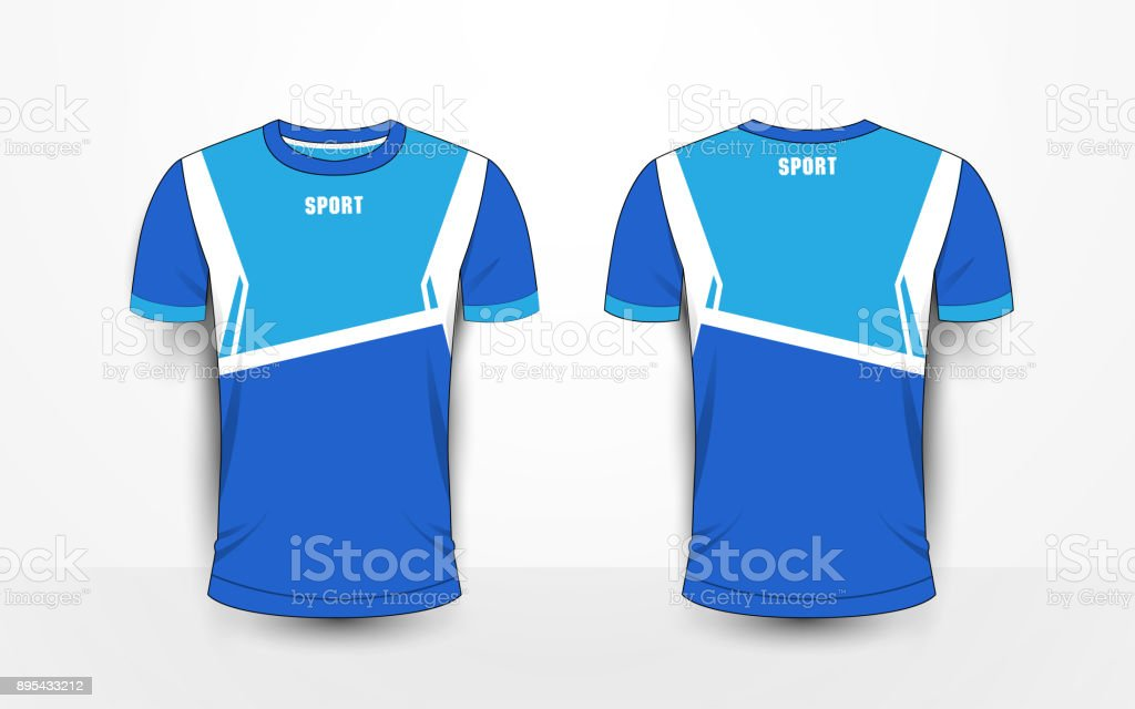Blue And White Sport Football Kits Jersey Tshirt Design Template