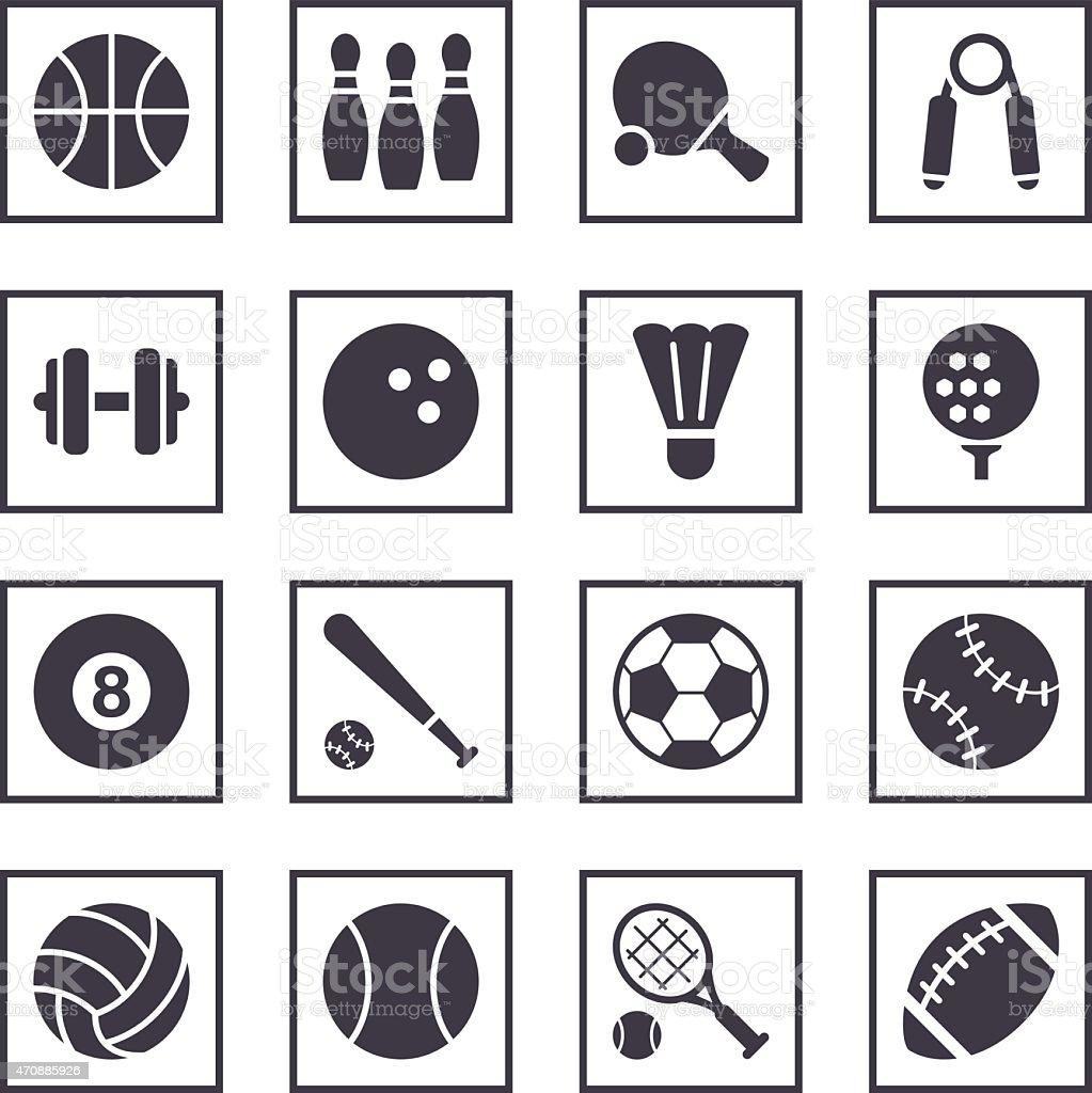 16 Blue and White Sport symbol icons vector art illustration