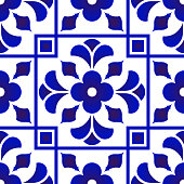 blue and white tile pattern, Azulejos Portugal ornament, Talavera ceramic decor, Moroccan mosaic, Spanish porcelain tableware, folk print, Spanish pottery, Mediterranean seamless background vector