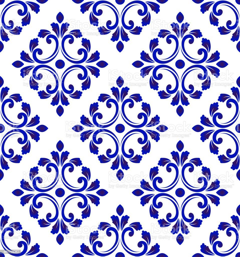 padrão de azulejo azul e branco sem costura - Vetor de Abstrato royalty-free
