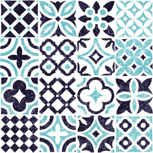 niebiesko-biały wzór płytek bez szwu. - kultura portugalska stock illustrations