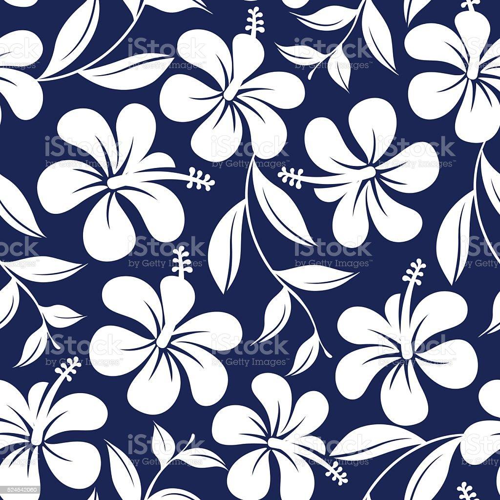de430a39b58f Azul e branco, flores de hibisco tropical e deixa sem costura pat vetores  de azul