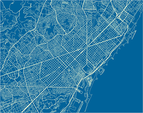 Blue and White vector city map of Barcelona with well organized separated layers.