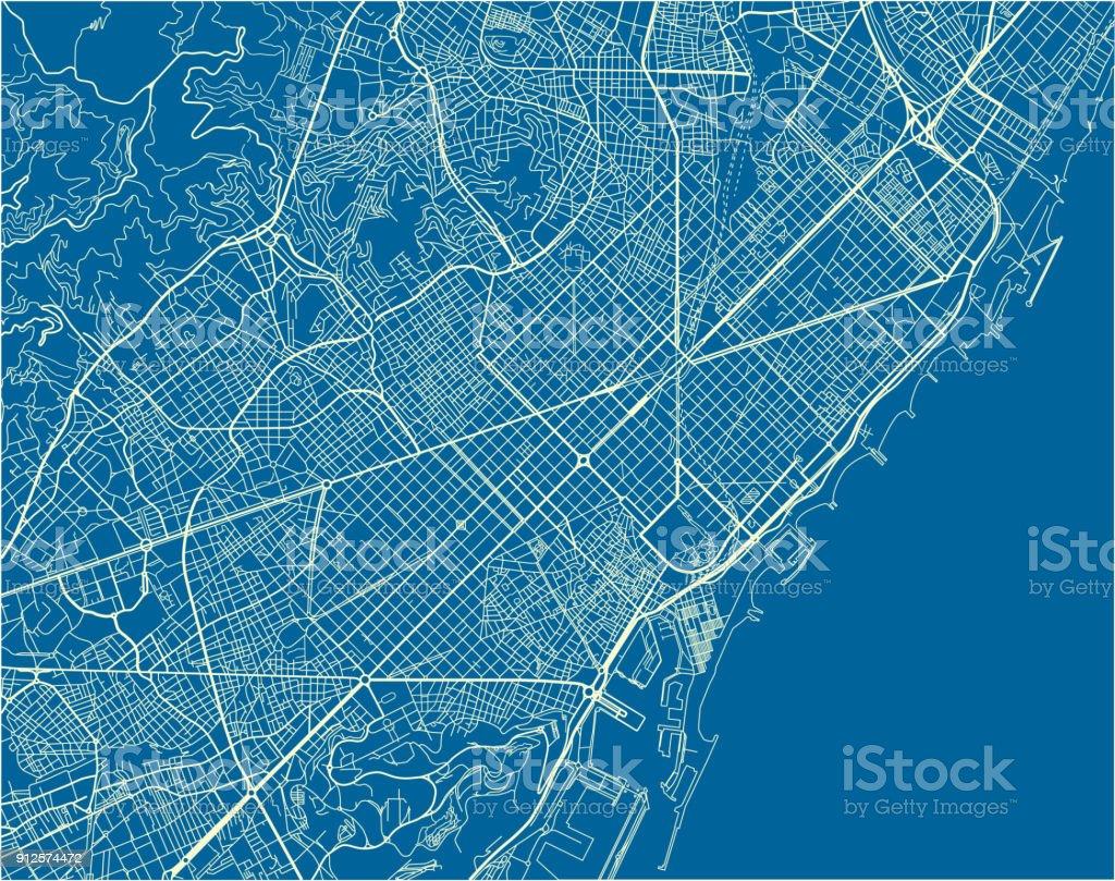 Azul y blanco mapa vector de Barcelona con bien organizado capas separadas. - ilustración de arte vectorial