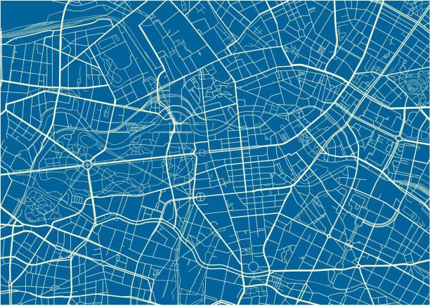 bildbanksillustrationer, clip art samt tecknat material och ikoner med blå och vit vektor stadskarta av berlin med väl organiserade åtskilda lager. - berlin street