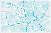 Blue and White vector city map of Dallas with well organized separated layers