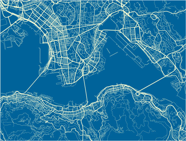 illustrazioni stock, clip art, cartoni animati e icone di tendenza di blue and white vector city map of hong kong with well organized separated layers. - hong kong