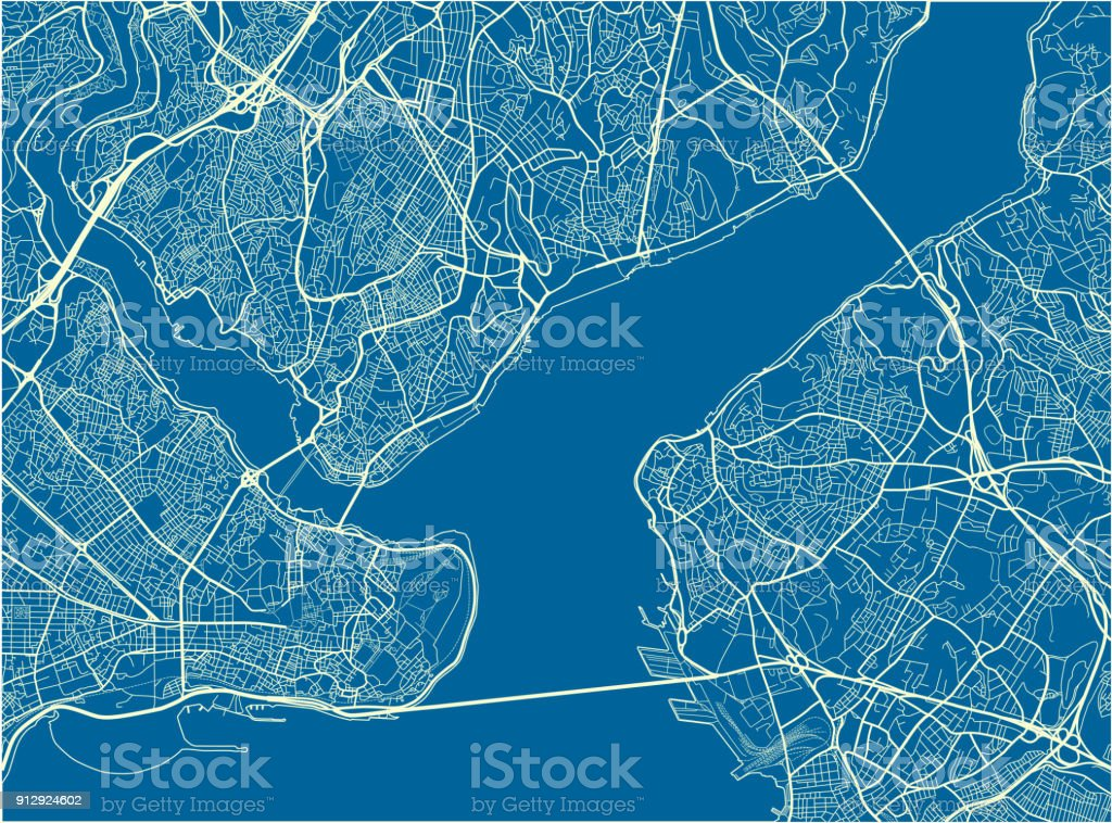 Blue And White Vector City Map Of Istanbul With Well Organized