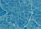 Blue and White vector city map of Madrid with well organized separated layers.