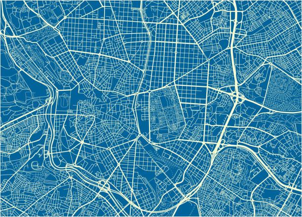 blaue und weiße stadt vektorkarte von madrid mit gut organisierten getrennte schichten. - kartographie stock-grafiken, -clipart, -cartoons und -symbole
