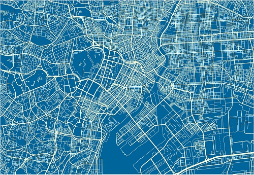 Blue and White vector city map of Tokyo with well organized separated layers.