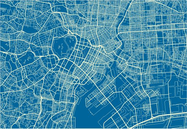 Blue and White vector city map of Tokyo with well organized separated layers. Blue and White vector city map of Tokyo. tokyo stock illustrations