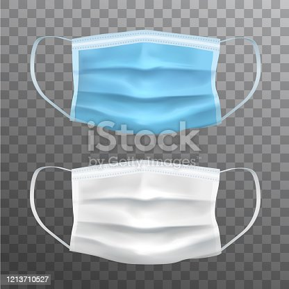 Blue and white vector realistic facial protective masks, medical equipment
