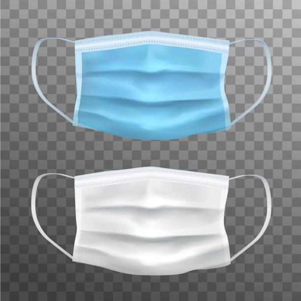 青と白のベクトル現実的な顔の保護マスク、医療機器 - マスク点のイラスト素材/クリップアート素材/マンガ素材/アイコン素材