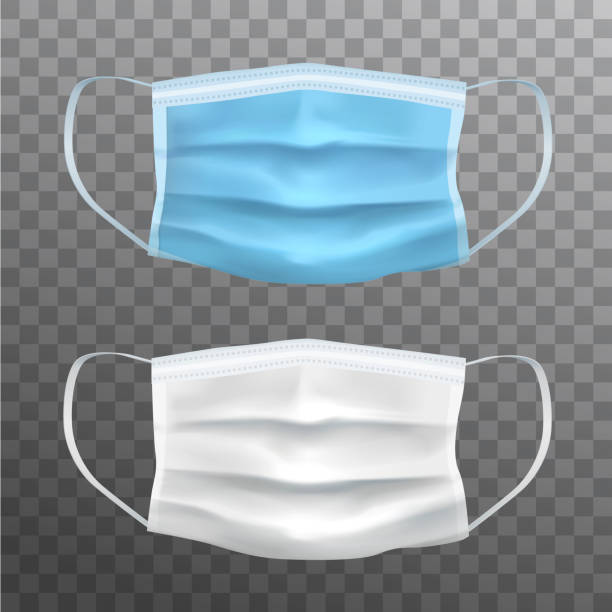 ilustrações de stock, clip art, desenhos animados e ícones de blue and white vector realistic facial protective masks, medical equipment - covid hospital