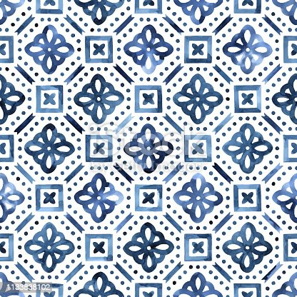blue and white watercolor pattern, ornament in moroccan style hand-drawn