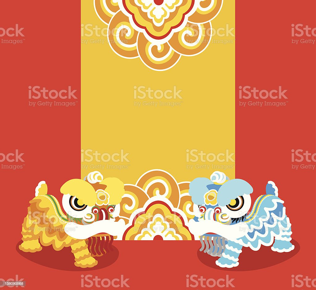 Blue and yellow Chinese lions dancing on red background royalty-free blue and yellow chinese lions dancing on red background stock illustration - download image now