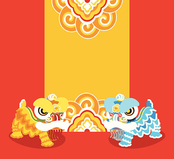 Blue and yellow Chinese lions dancing on red background vector art illustration