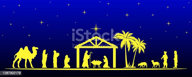 Vector illustration of Nativity Scene with white figurine silhouettes of Three Wise Men, Jesus baby, Mary and Joseph in the stable, and shepherds, desert settings, against a blue starry sky at night with moravian star light. Figurines hand drawn in vector graphics.