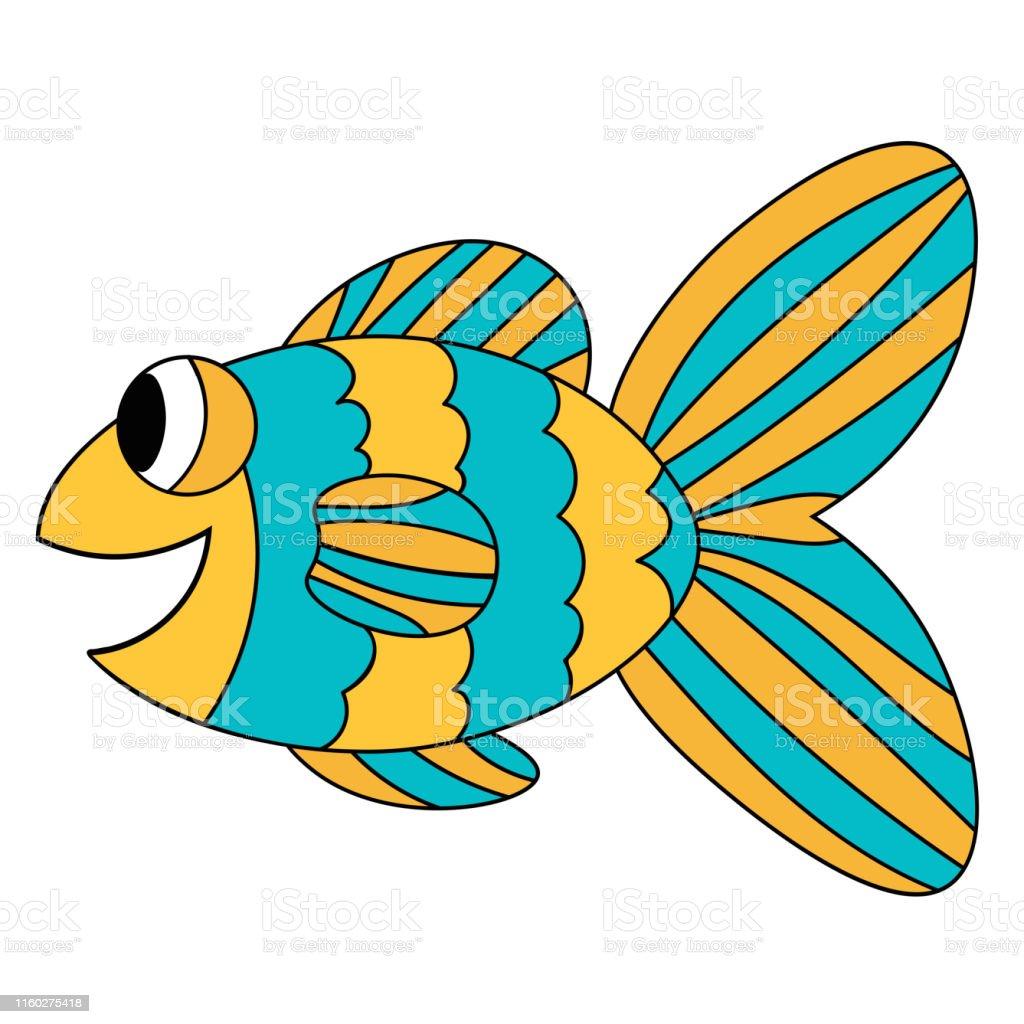 Vetores De Peixes De Sorriso Bonitos Coloridos Azuis E Amarelos