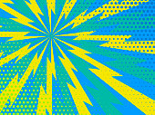 Blue and yellow Comic rays dots background. Vector illustration in pop art retro style