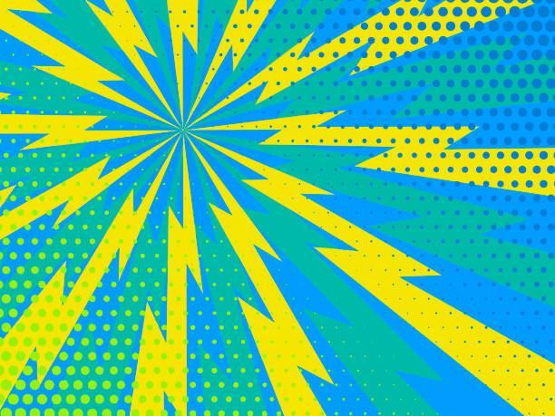 illustrazioni stock, clip art, cartoni animati e icone di tendenza di blue and yellow comic rays dots background. vector illustration in pop art retro style - fulmini
