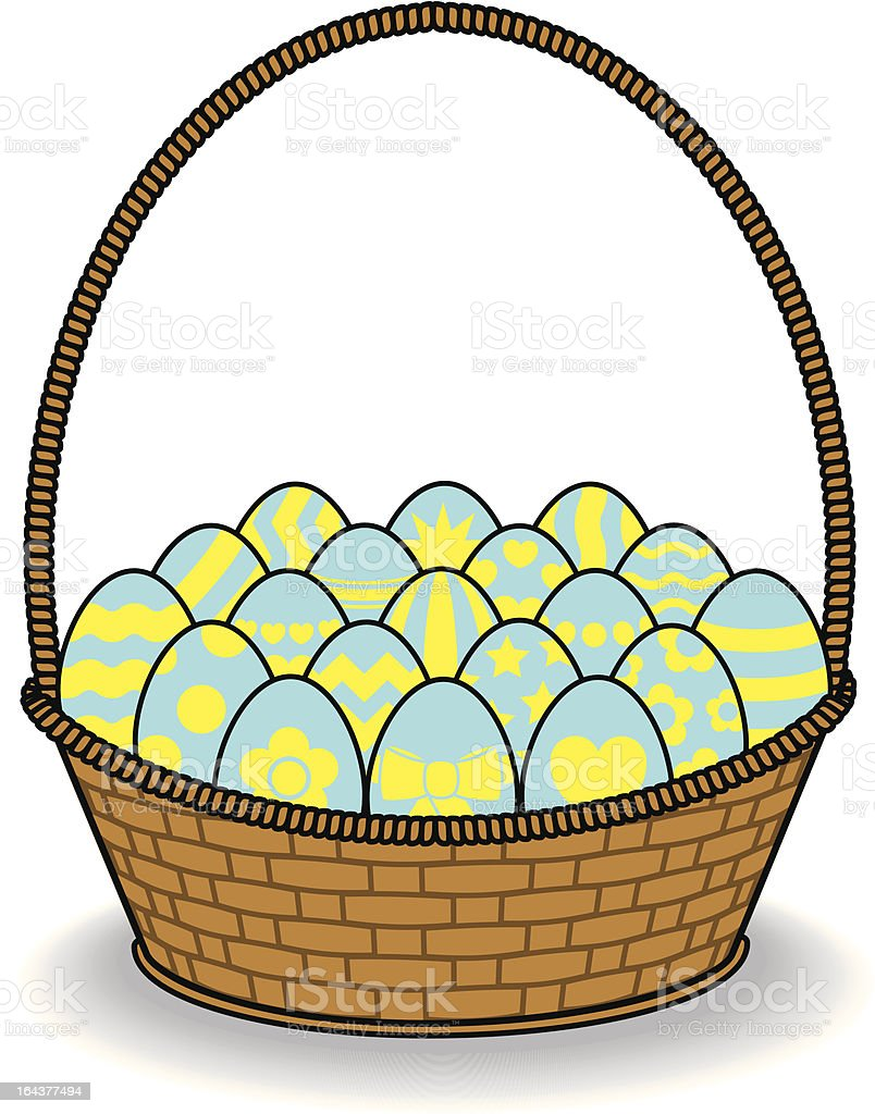 Blue and Yellow Decorated Eggs in Brown Basket royalty-free stock vector art