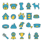 Blue and yellow ector icons set for creating infographics related to dogs, like food, pet bowl, toy, comb or bed
