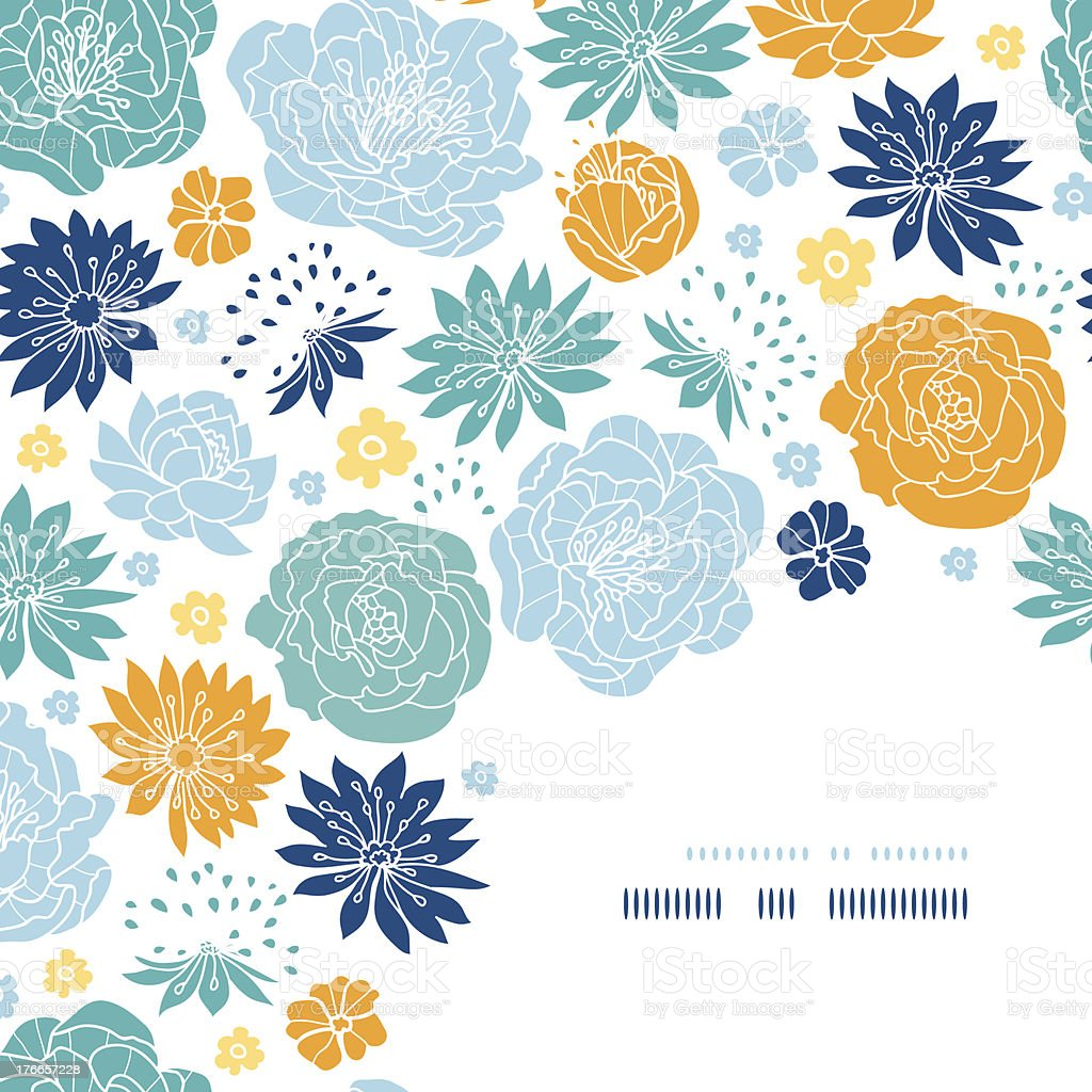 Blue And Yellow Flower Silhouettes Corner Decor Pattern Background