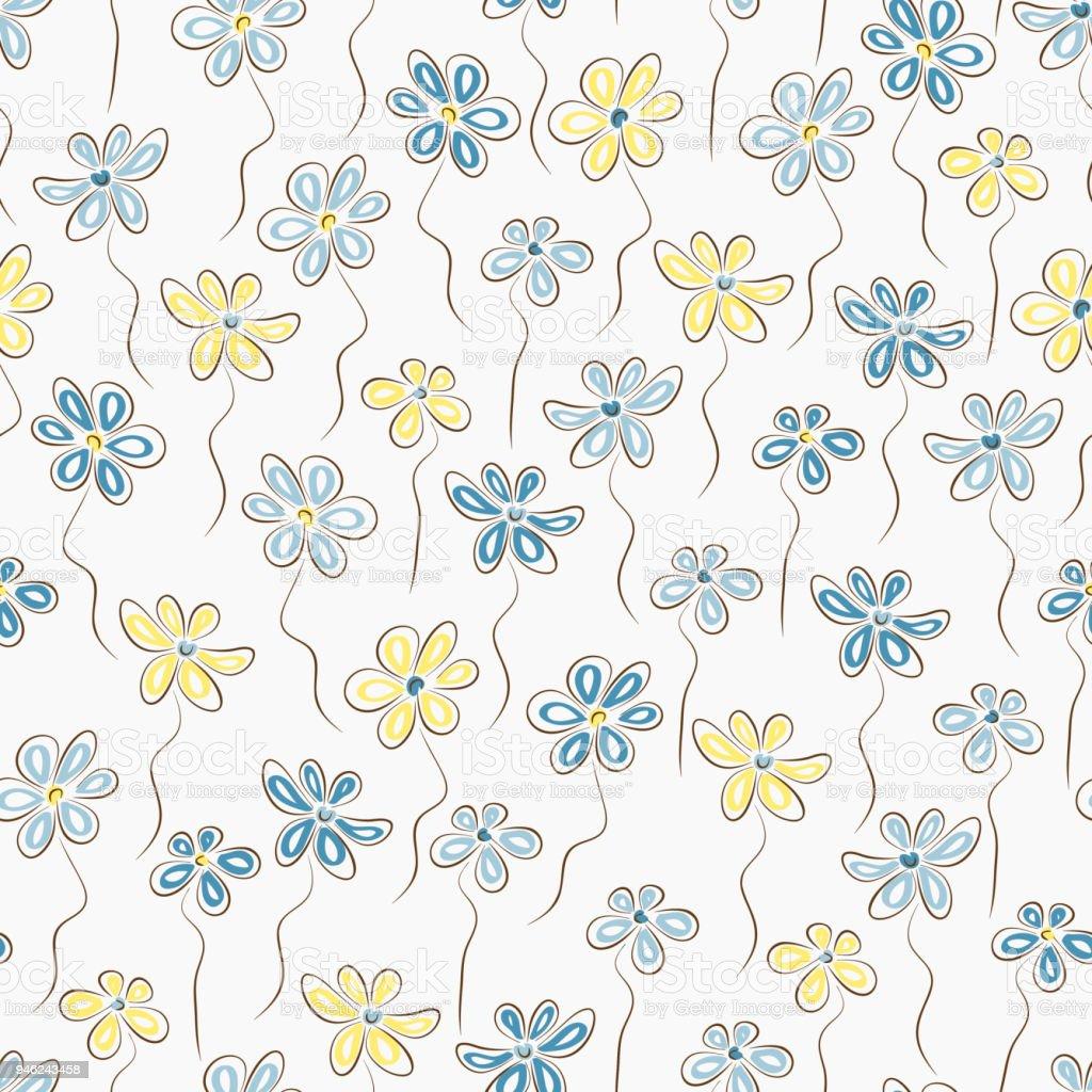 Ilustracion De Patron Sin Fisuras De Flores Azules Y Amarillas Fondo