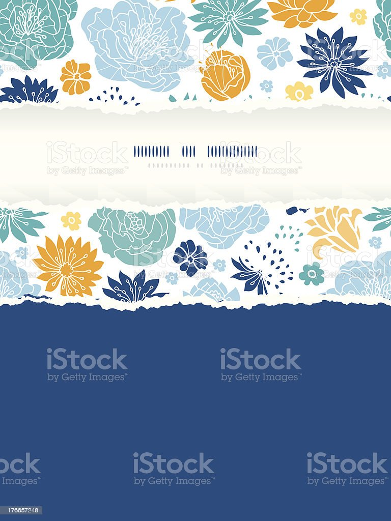 Blue and yellow flowersilhouettes torn frame seamless pattern background royalty-free blue and yellow flowersilhouettes torn frame seamless pattern background stock vector art & more images of abstract