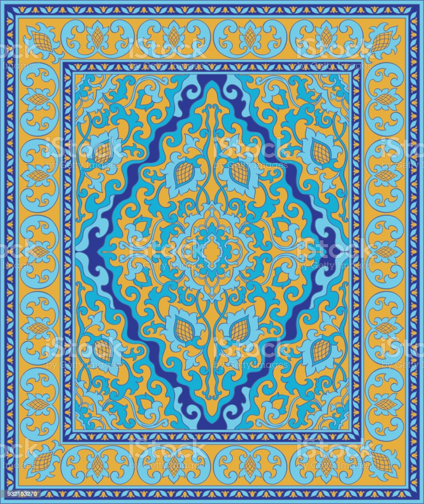 Tapis Dorient Bleu Et Jaune Cliparts Vectoriels Et Plus Dimages