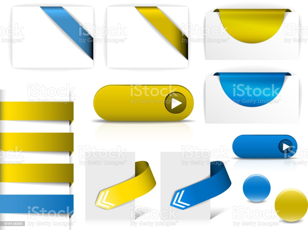 Blue And Yellow Vector Elements For Web Pages Stock Vector Art