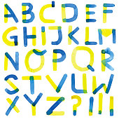 Blue and yellow watercolour alphabet letters