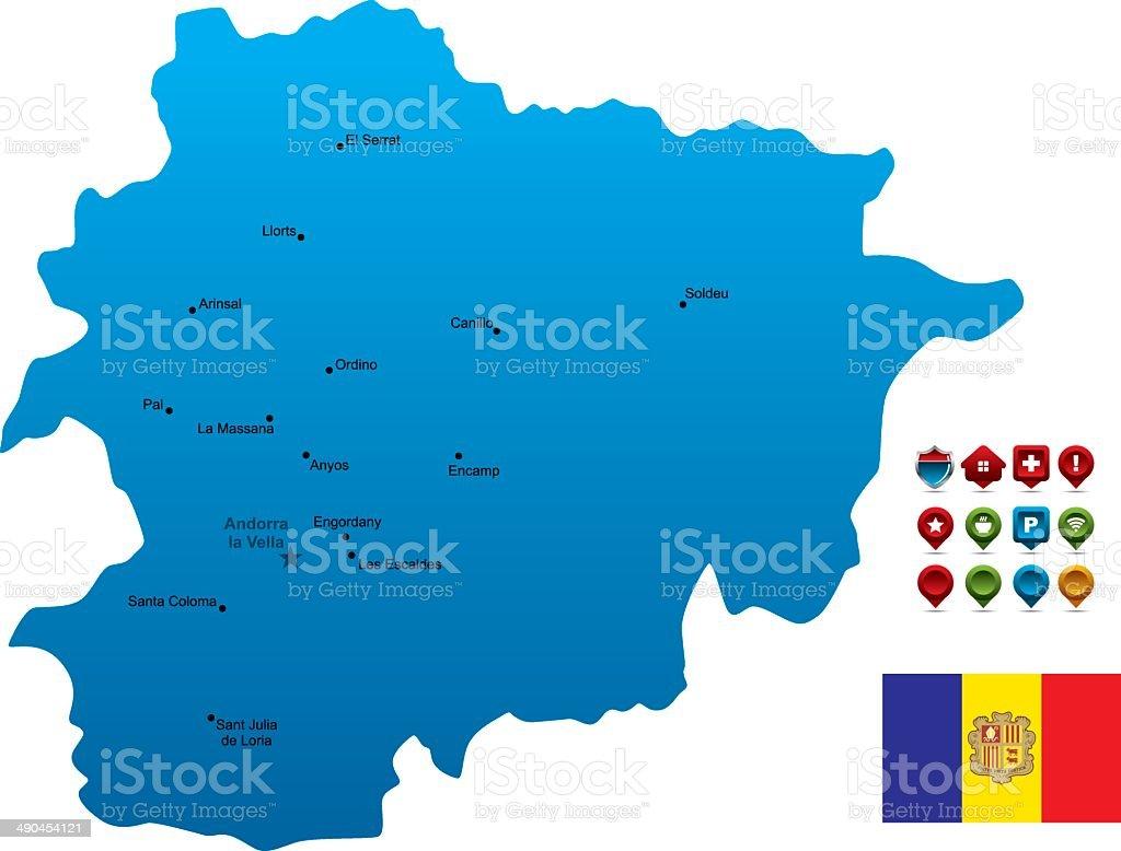 Blue Andorra Map vector art illustration