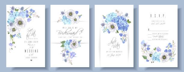 stockillustraties, clipart, cartoons en iconen met blauwe anemone bruiloft set - hortensia