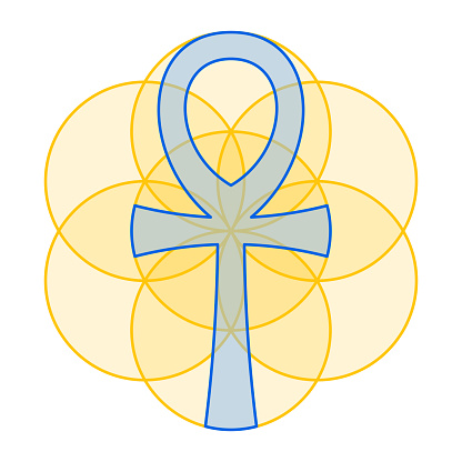 Blue Ankh fits perfect in gold colored Seed of Life, Sacred Geometry