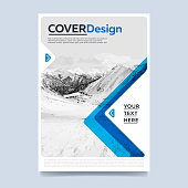 Brochure cover presentation abstract flat background. Leaflet layout. Corporate document. Blue annual report design template vector.