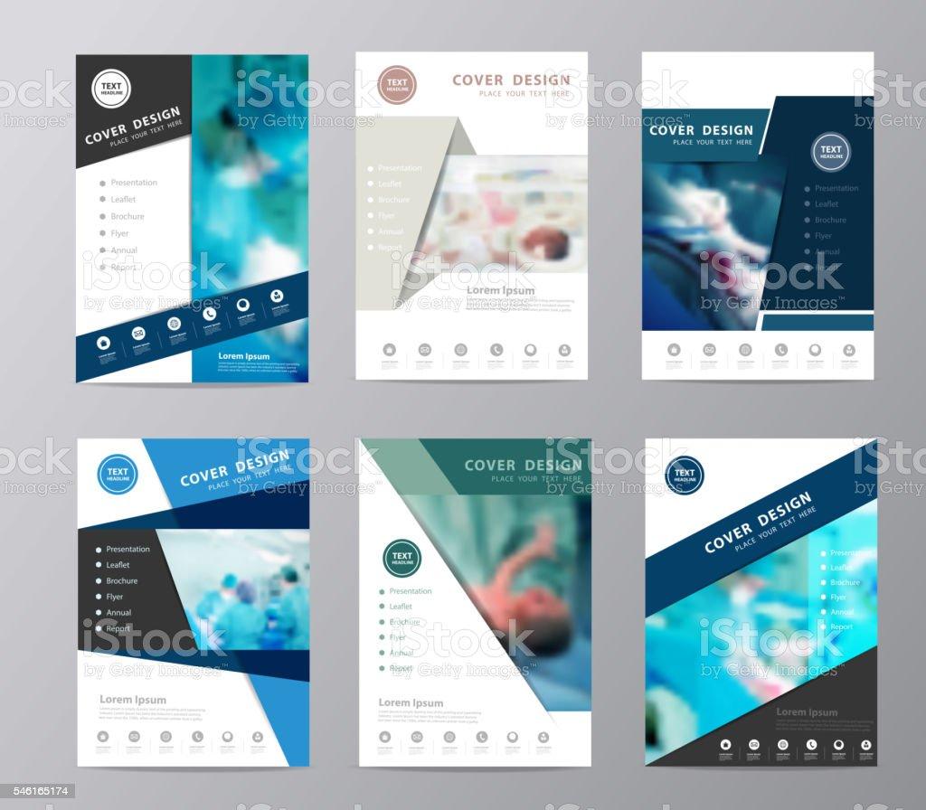 Blue annual report brochure flyer design operating room background vector art illustration