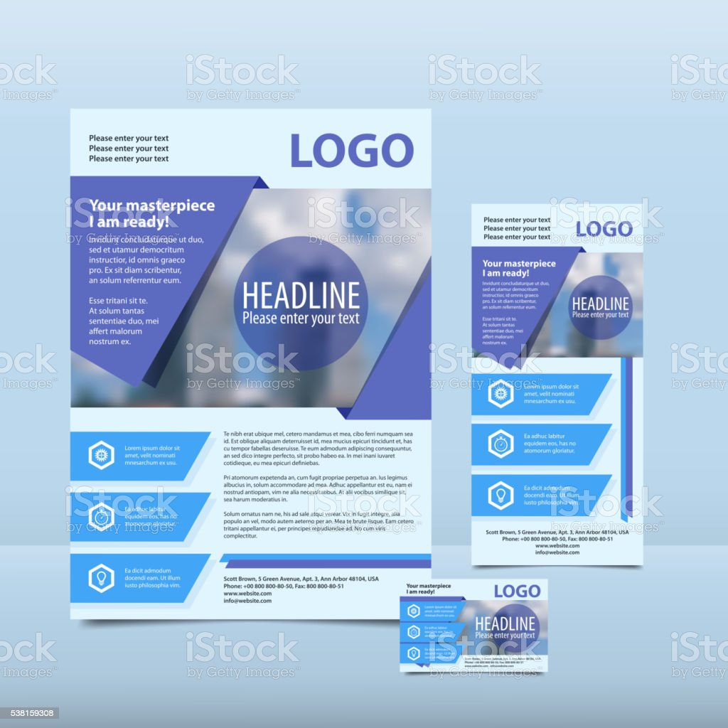 Blue annual report with the pattern brochure flyer business card vector art illustration