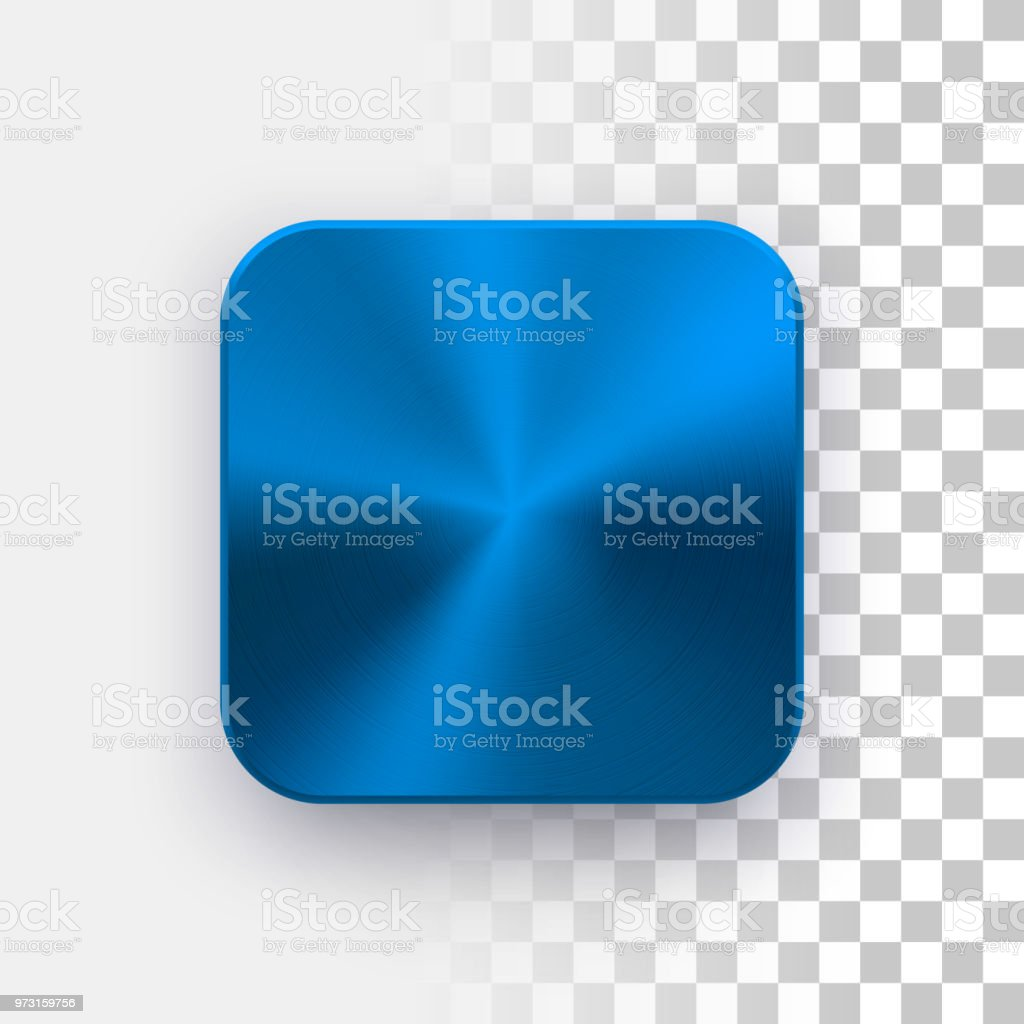 blue app icon template with metal texture stock vector art more