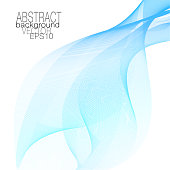 Blue, aquamarine vector waving veil. Line art design element, squiggle lines. Flowing transparent scarf imitation. Abstract elegant wave pattern. Sea concept, template for invitations, leaflets, flyers, posters. EPS10