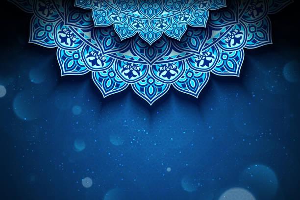 ilustrações de stock, clip art, desenhos animados e ícones de blue arabesque flower background - cora��o