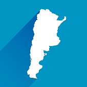 Vector illustration of a blue Argentina Map Icon.