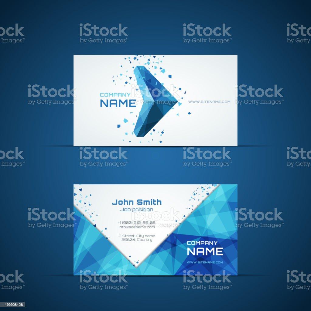 Blue arrow business card template vector art illustration