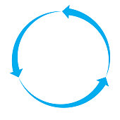 blue arrow icon on white background. blue arrow sign. flat style. cycle arrow symbol.