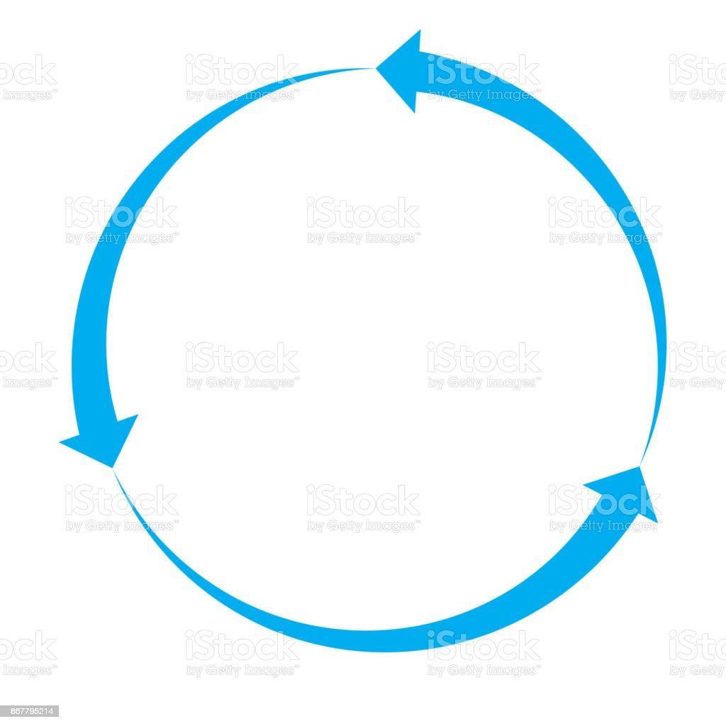 blue arrow icon on white background. blue arrow sign. flat style. cycle arrow symbol. vector art illustration